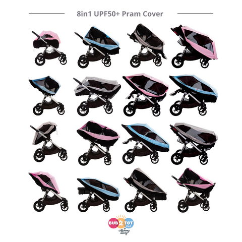 twins and tandem double prams multifunctional pram cover with sun shade upf50+ sun uv protection