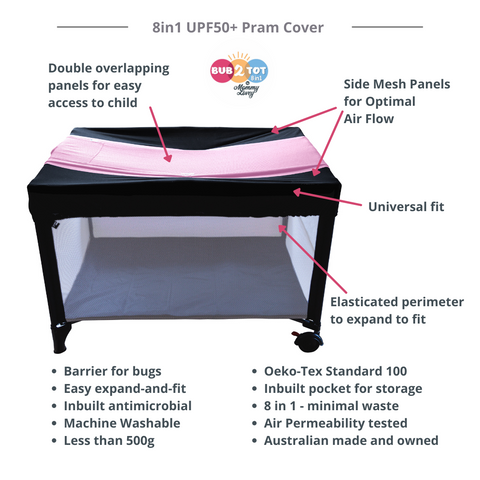 portacot insect cover multifunctional 8 in 1 for prams and strollers, breastfeeding, carseat, capsule, carrycots, trolleys and highchairs
