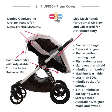 multifunctional cover for breastfeeding, prams, strollers, capsules, carrycots, carseats, high chairs and trolleys.  With UV protection of UPF 50+ giving the optimal sun protection for babies and children.