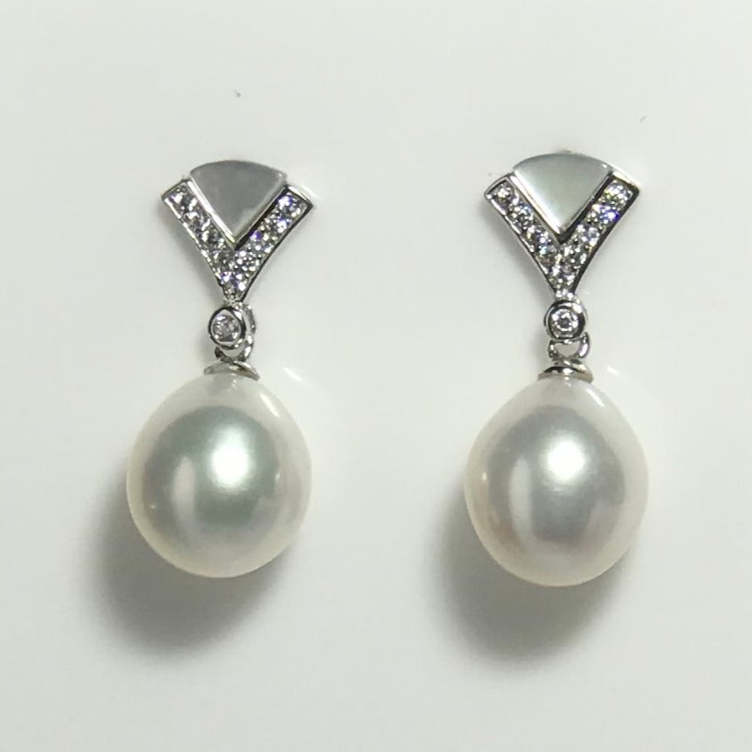 'Julia Sparkle' Mother of Pearl Freshwater Pearl Earrings