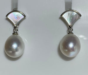 'Julia' Mother of Pearl Stud Style Freshwater Pearl Earrings