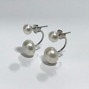 'Marni' Sterling Silver Double Freshwater Pearl Earrings
