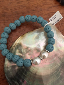 Australian South Sea Pearl braceletBlue lava bracelet