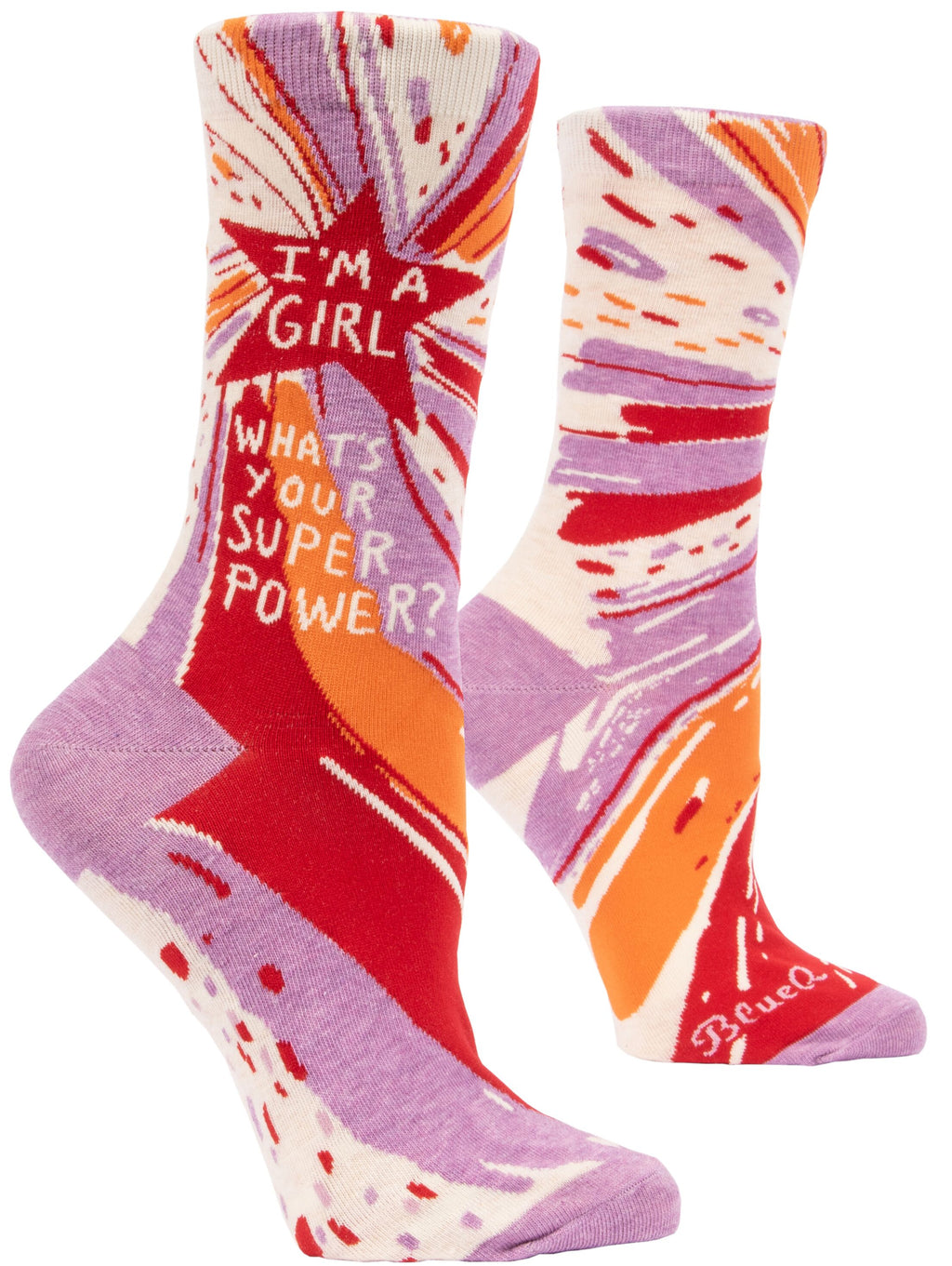 Blue Q I'm a Girl, What's your Superpower? in pink, fits women's size 5 to 10.