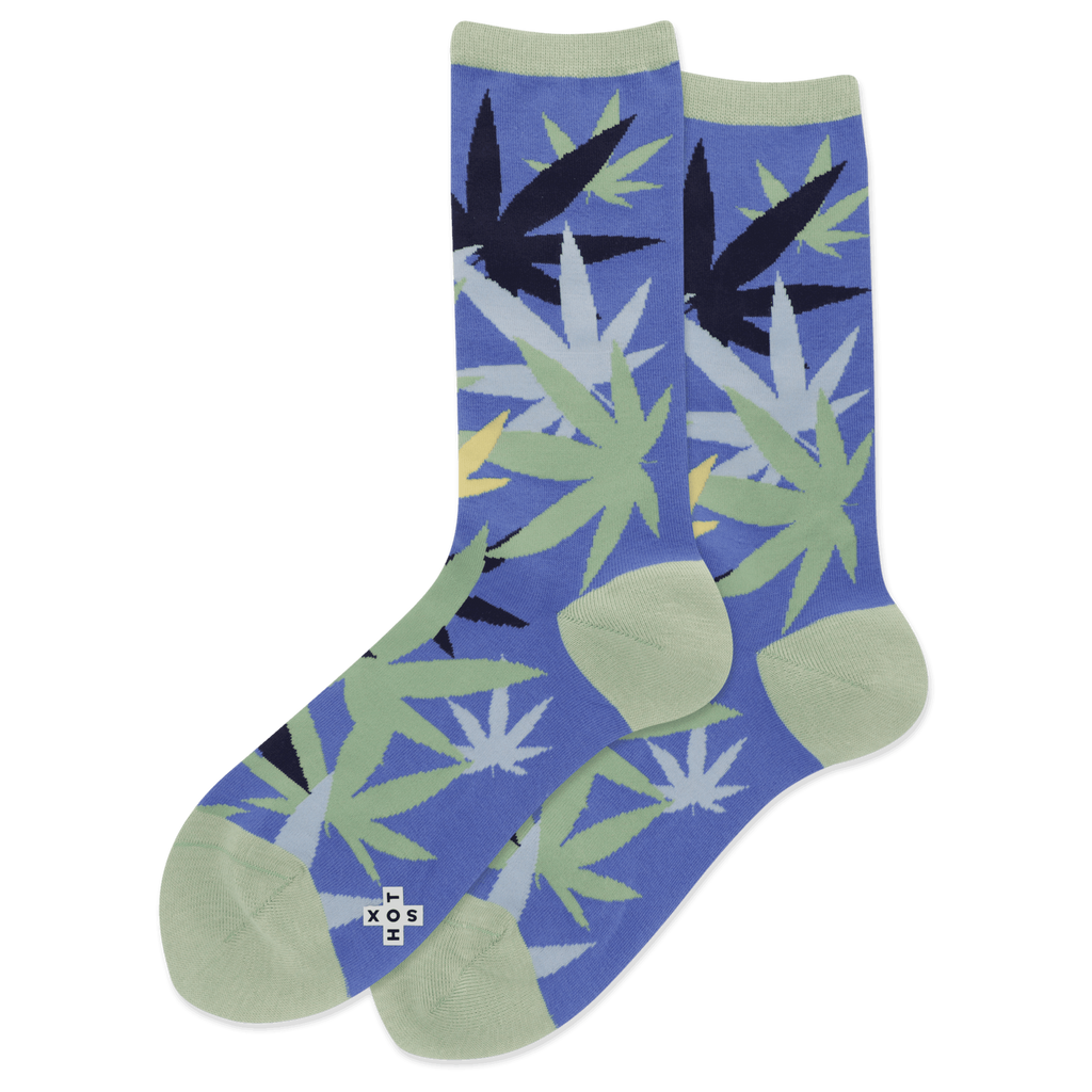 Hotsox women's crew socks with weed leaves over blue background