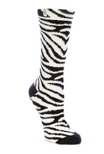 Load image into Gallery viewer, Leslie Graphic Zebra Socks