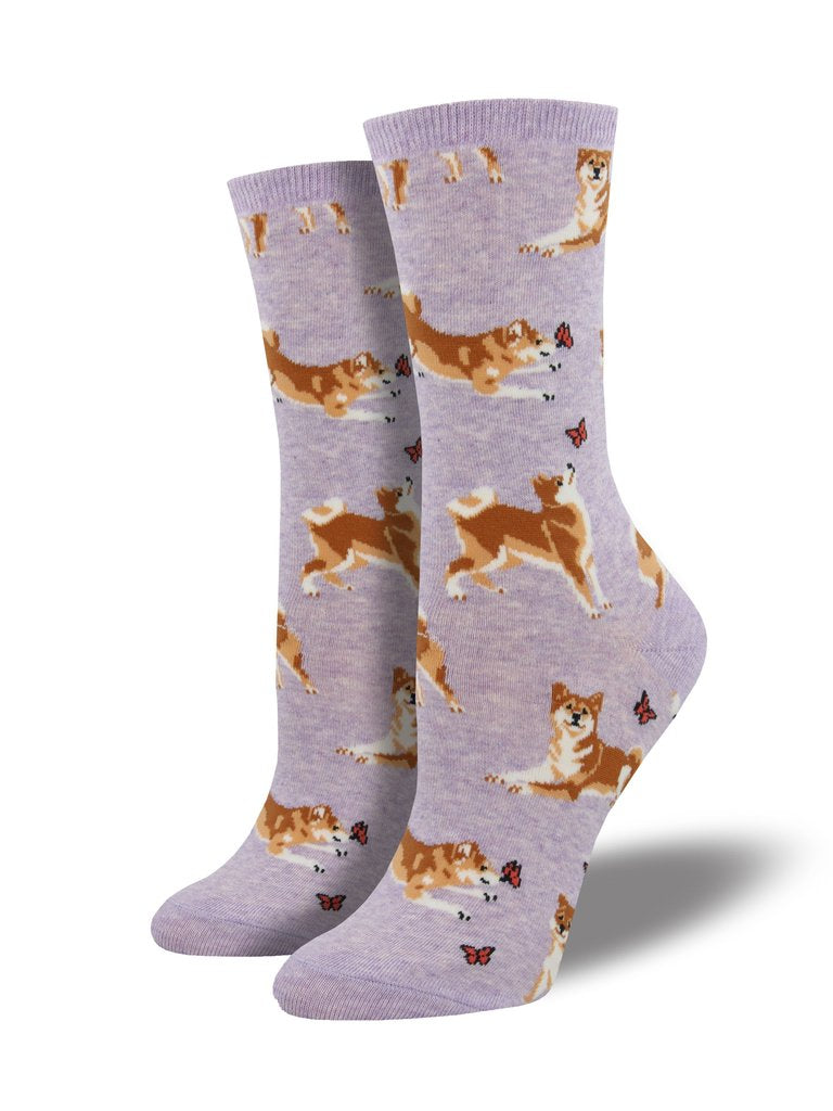 Socksmith's Shiba Inu in lavender heather