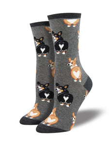 Socksmith's Corgi Butts in charcoal heather, women's size 5 to 10.