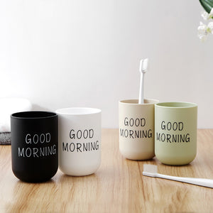 1Pc Good Morning Cup Water Cups Toothbrush Holder