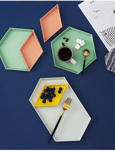 4 Pcs Nordic Geometric Polygon Trays Combination