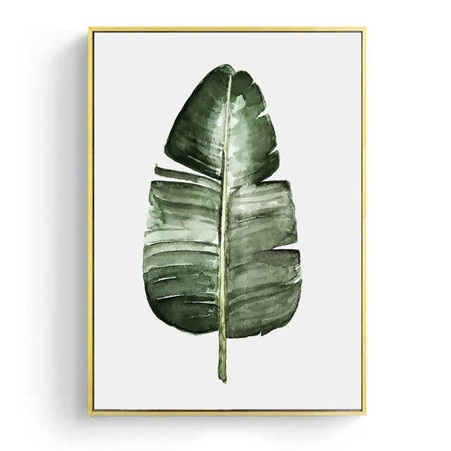 Watercolor Leaves Wall Art Canvas
