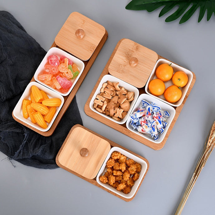 Rectangle Ceramic Bamboo Storage Tray With Lid