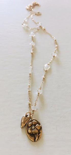#90 Moonstone & Pearl Chain with Love & Protection talisman - Mag.Pi