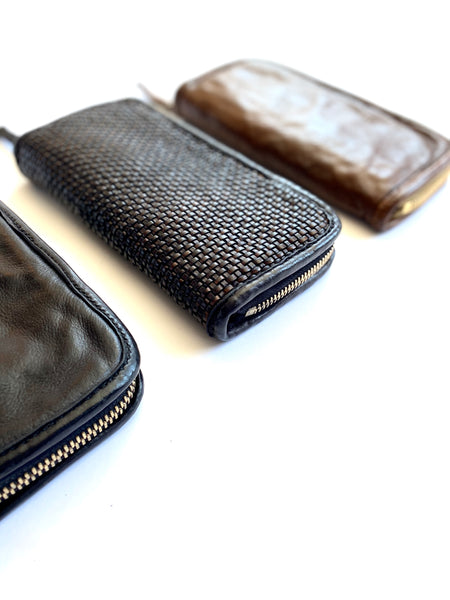 Brown Zip Around Woven Leather Wallet