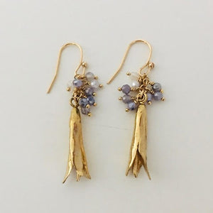 #200 Lily Bud Earring with Iolite Gemstone Tassel - Mag.Pi