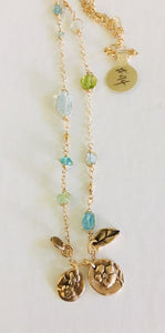 #94 Ocean Stone Chain with Forget-me-not Bouquet - Mag.Pi
