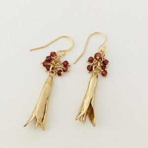 #201 Lily Bud Earring with Tiny Red Tassel - Mag.Pi