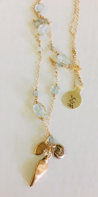 #95 Aquamarine Gemstone Chain with Protection Talisman - Mag.Pi
