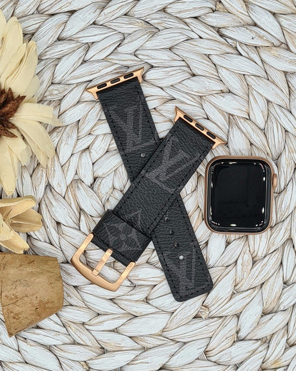 Authentic Repurposed Black Monogram Apple Watch Band