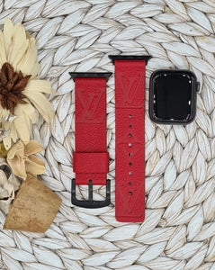Authentic Repurposed Red Leather Monogram Apple Watch Band