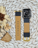 Authentic Repurposed Dark Blue Leather Monogram Apple Watch Band