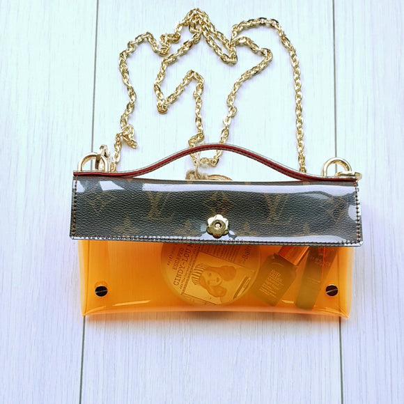 Repurposed Clear Stadium Bags (Orange)