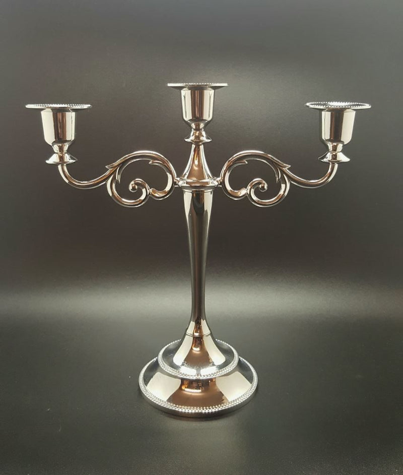 Stylish Silver 3 taper Candelabra Candle Holder Centerpiece For weddings decorate
