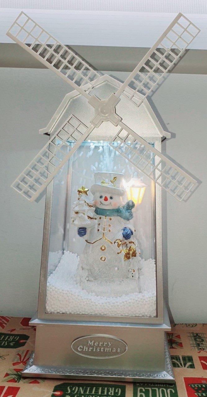 Christmas Snowy musical light up box with windmill
