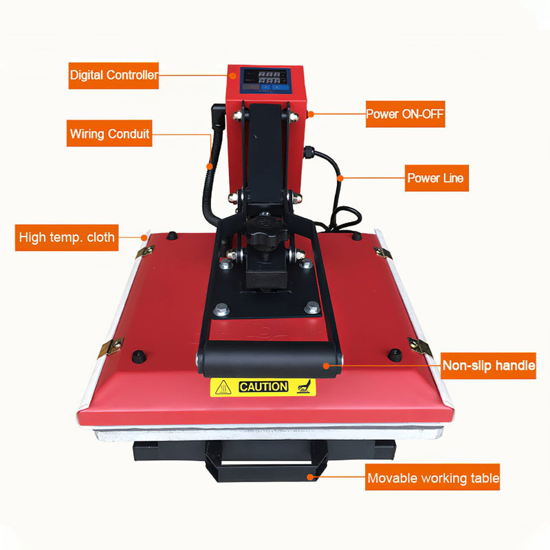 Heat Press with Movable Working Table and Auto Open 38 * 38 Cm