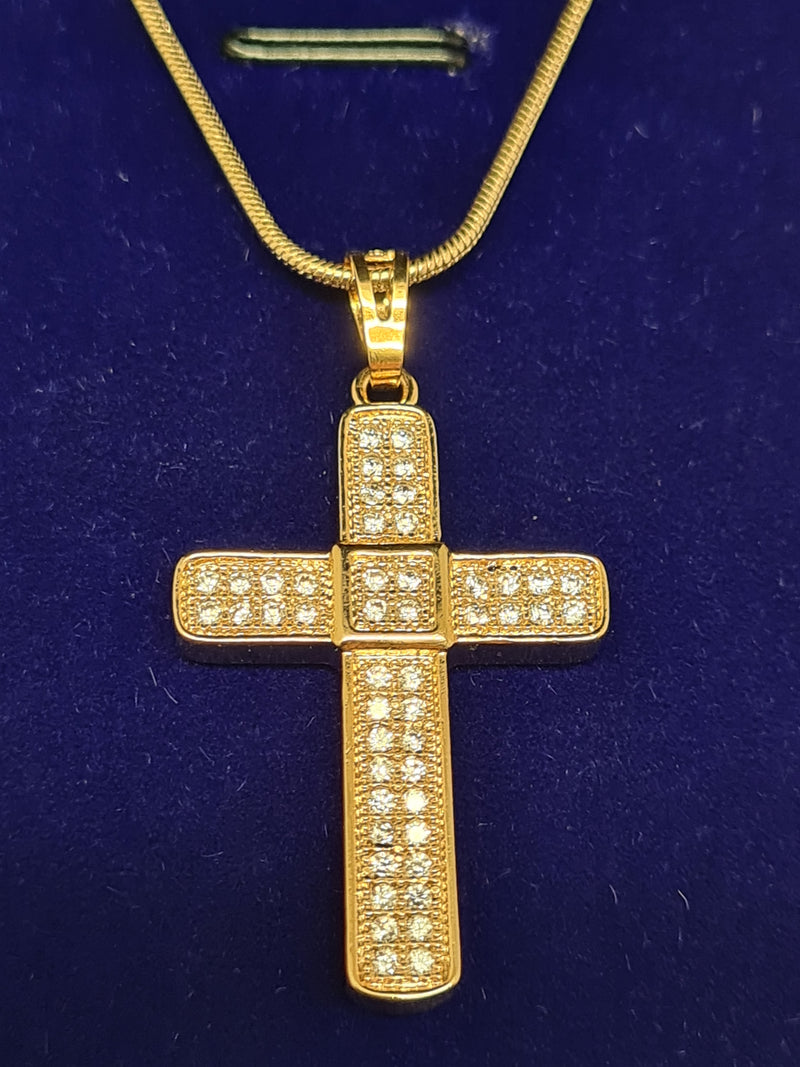 18K plated crucifix and necklace