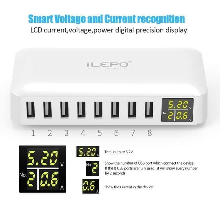 8 Ports USB Smart Charger - LED Display