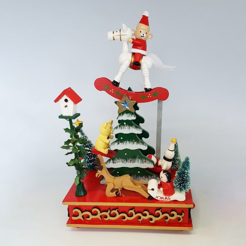 Horse Riding Bear Christmas Music Box