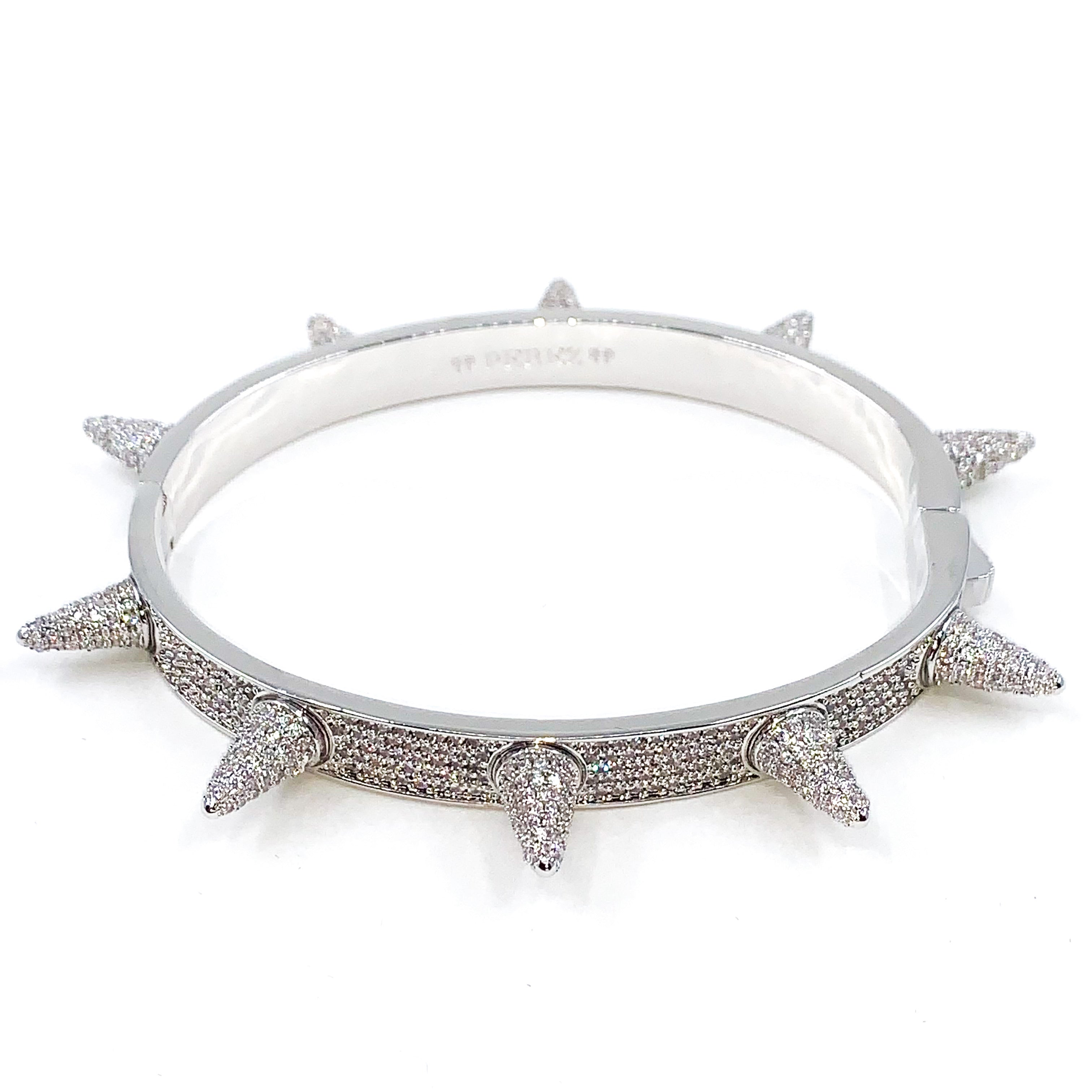 PEREZ-ICED-SPIKED-BRACELET-WHITE-GOLD