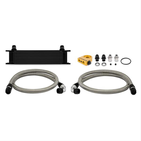 Universal Thermostatic 10 Row Oil Cooler Kit, Black
