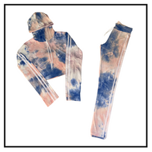 Load image into Gallery viewer, Stretch Tie Dye Crop Hoodie + Jogger Set