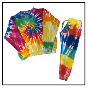 Tie dye crew sweat suit