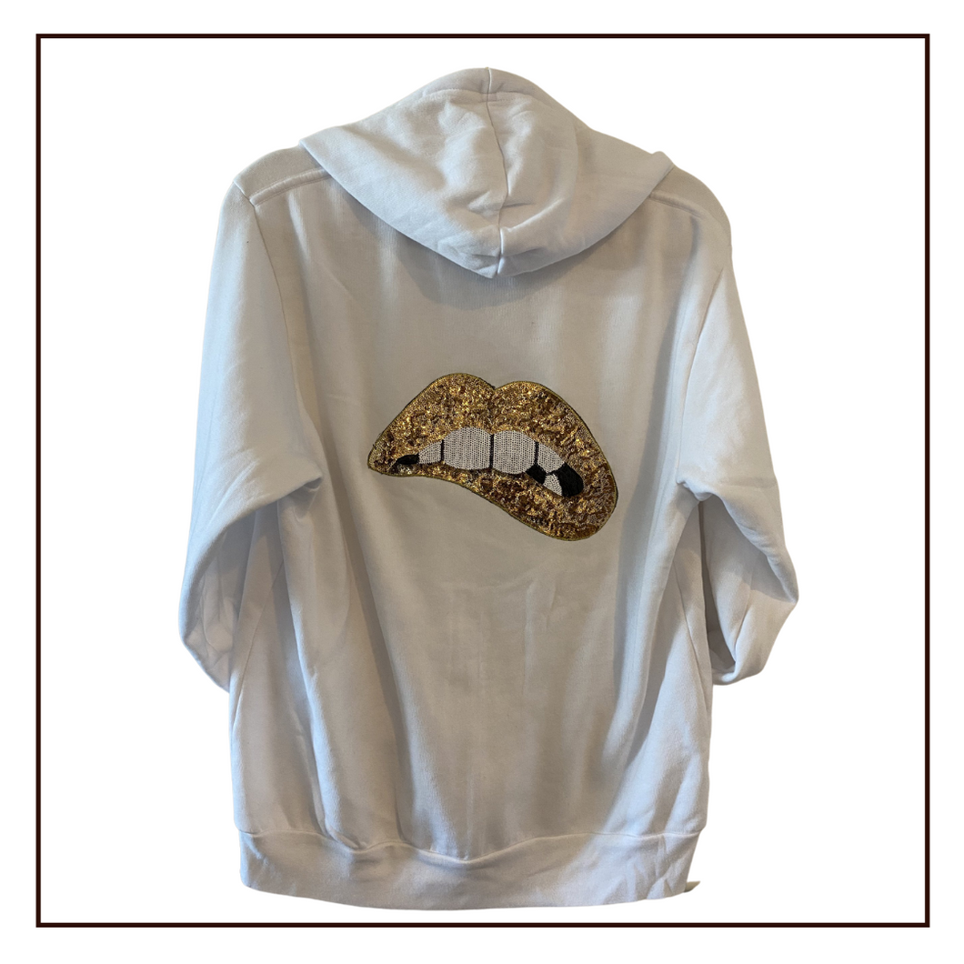 'Bite Me' | White Zip Hoodie | Gold Lips
