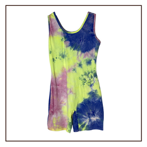 Tie Dye Biketard | Neon Yellow/Pink/Blue