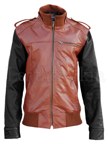 Mens Brown Black Sleeves Leather Jacket - Natal Fashion