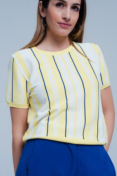 Yellow Striped Short Sleeve Sweater - Natal Fashion