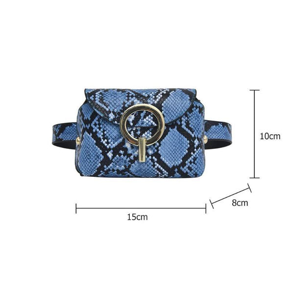 Snake Pattern Leather Belt Bag - Natal Fashion