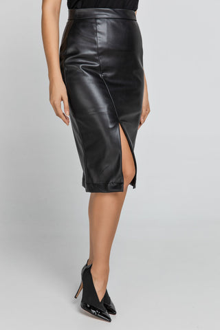 Black Faux Leather Pencil Skirt by Conquista Fashion - Natal Fashion
