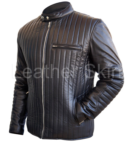 Men Black Rib Quilted Leather Jacket - Natal Fashion