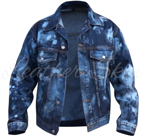 Leather Skin Men Denim Jacket - Natal Fashion