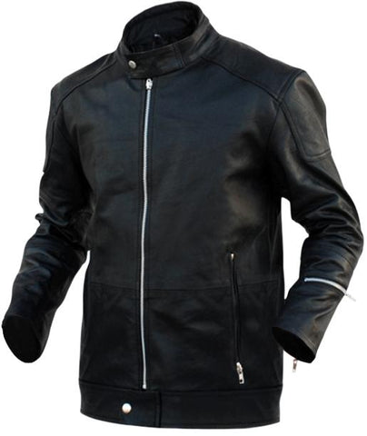 Black Genuine Leather Jacket - Natal Fashion