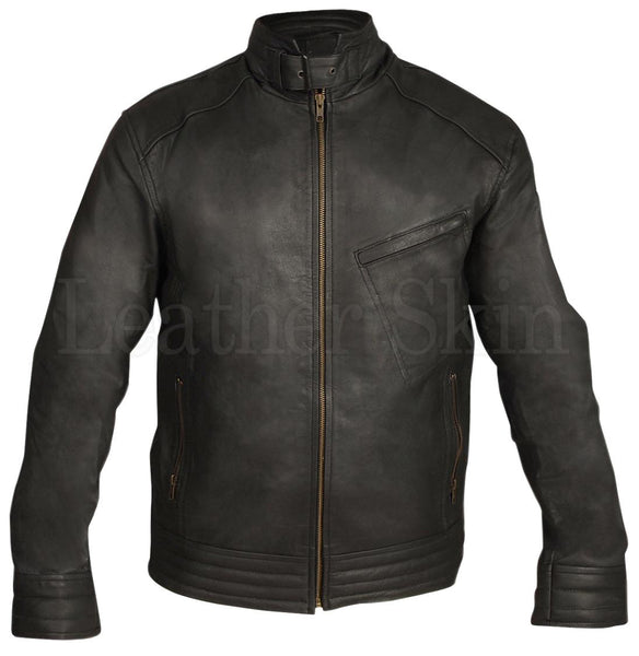 Black Biker Tilt Pocket Leather Jacket - Natal Fashion