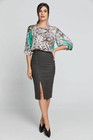 Dusty Green Pencil Skirt by Conquista Fashion - Natal Fashion