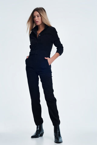 Cord Utility Jumpsuit in Black - Natal Fashion