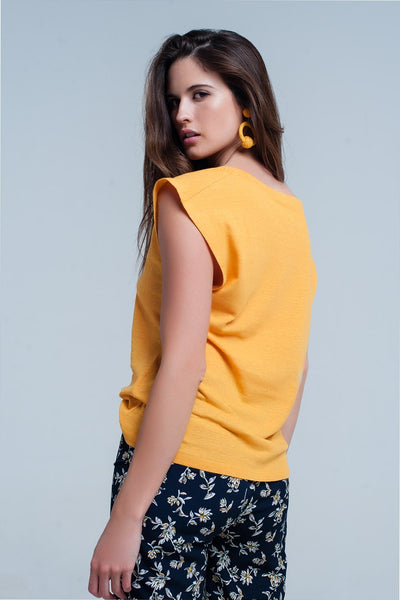 Yellow T-Shirt With Scoop Neck - Natal Fashion