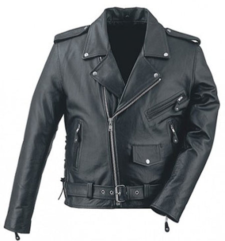 Black Brando Belted Biker Leather Jacket - Natal Fashion